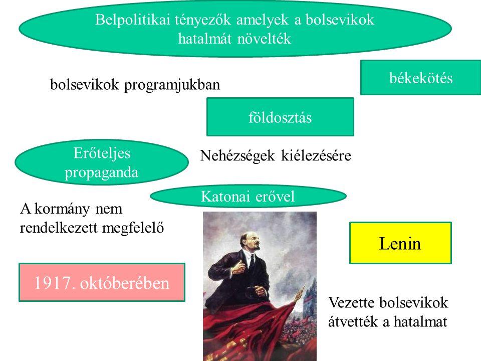 Belpolitikai tényezők amelyek a bolsevikok hatalmát növelték