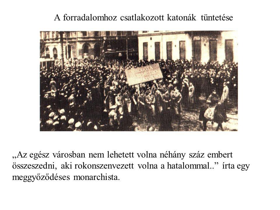 A forradalomhoz csatlakozott katonák tüntetése