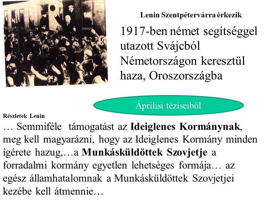 Lenin Szentpétervárra érkezik