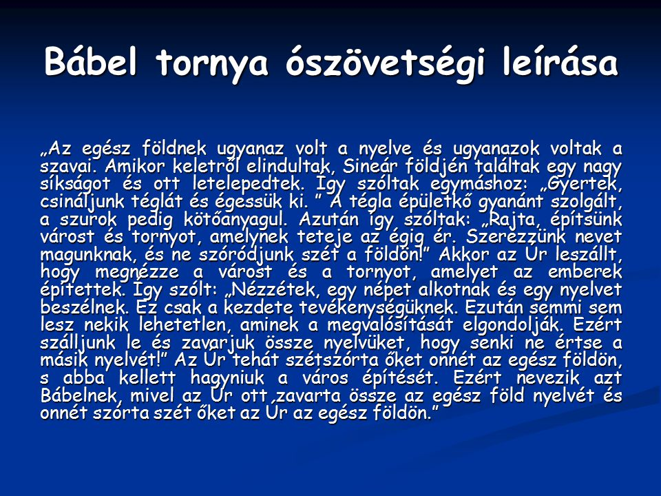 Bábel tornya ószövetségi leírása