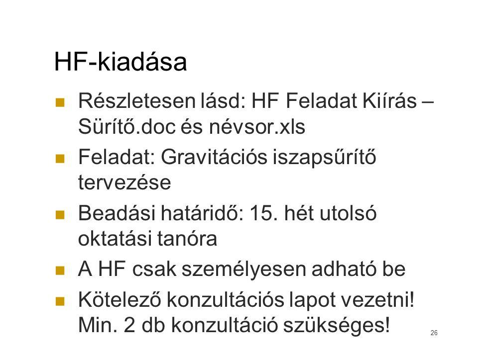 HF-kiadása Részletesen lásd: HF Feladat Kiírás – Sürítő.doc és névsor.xls. Feladat: Gravitációs iszapsűrítő tervezése.