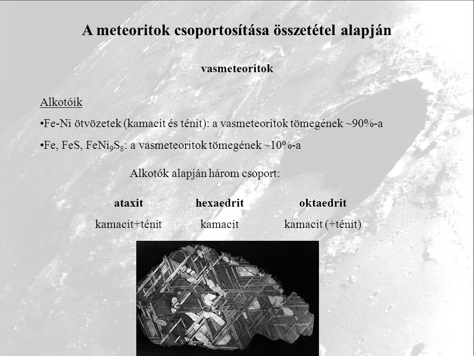 A meteoritok csoportosítása összetétel alapján