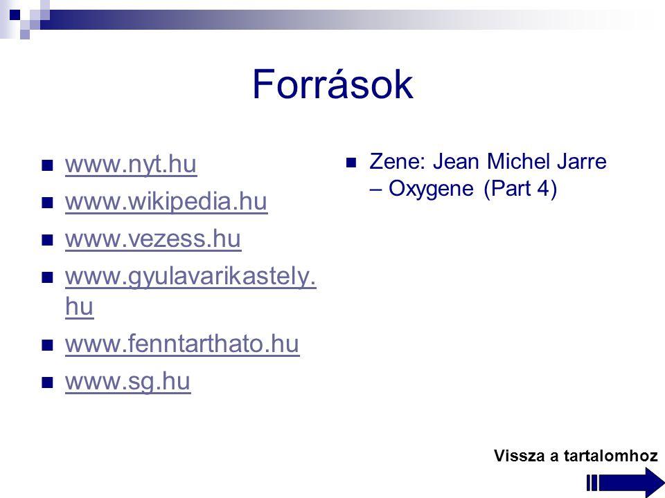 Források www.nyt.hu www.wikipedia.hu www.vezess.hu