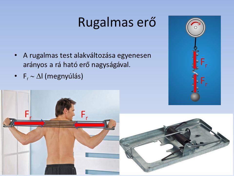Rugalmas erő A rugalmas test alakváltozása egyenesen arányos a rá ható erő nagyságával. Fr  l (megnyúlás)