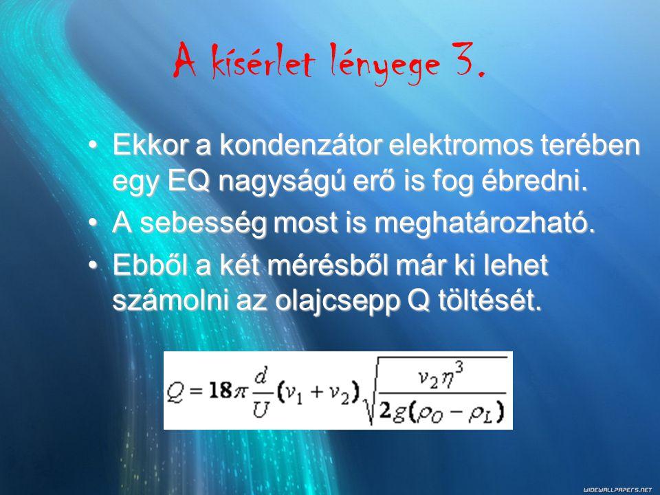 A kísérlet lényege 3. Ekkor a kondenzátor elektromos terében egy EQ nagyságú erő is fog ébredni. A sebesség most is meghatározható.