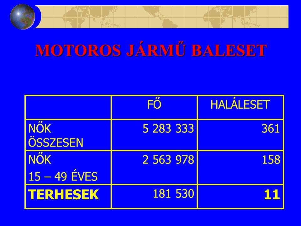 MOTOROS JÁRMŰ BALESET TERHESEK 11 FŐ HALÁLESET NŐK ÖSSZESEN 5 283 333