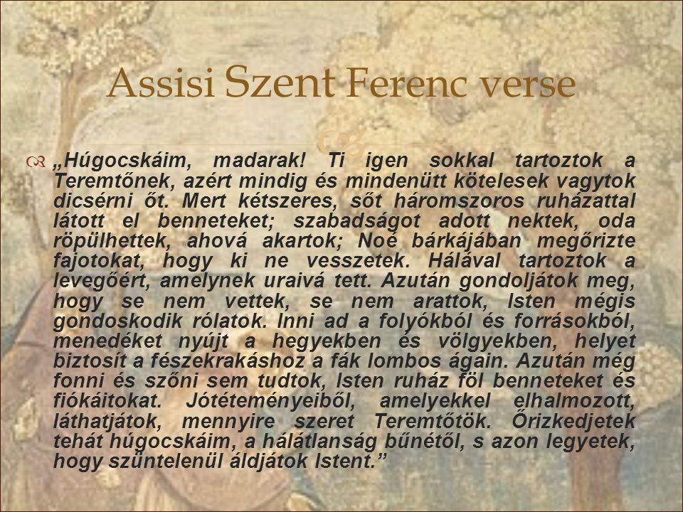 Assisi Szent Ferenc verse