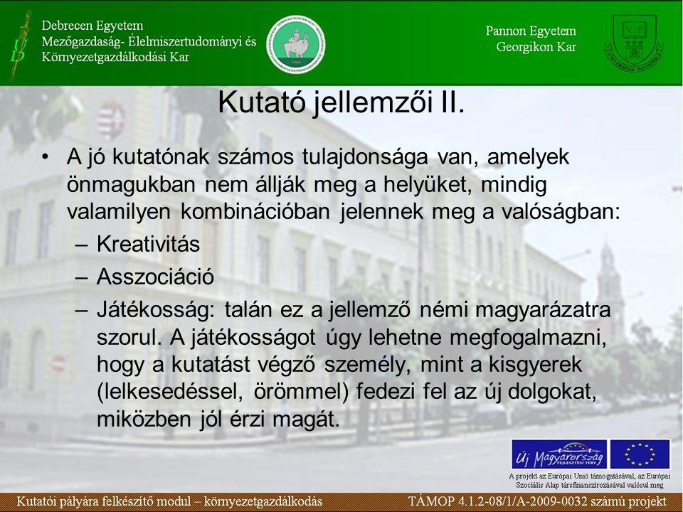 Kutató jellemzői II.