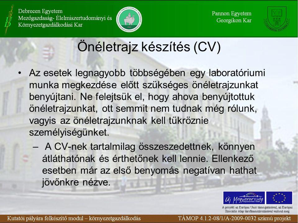 Önéletrajz készítés (CV)