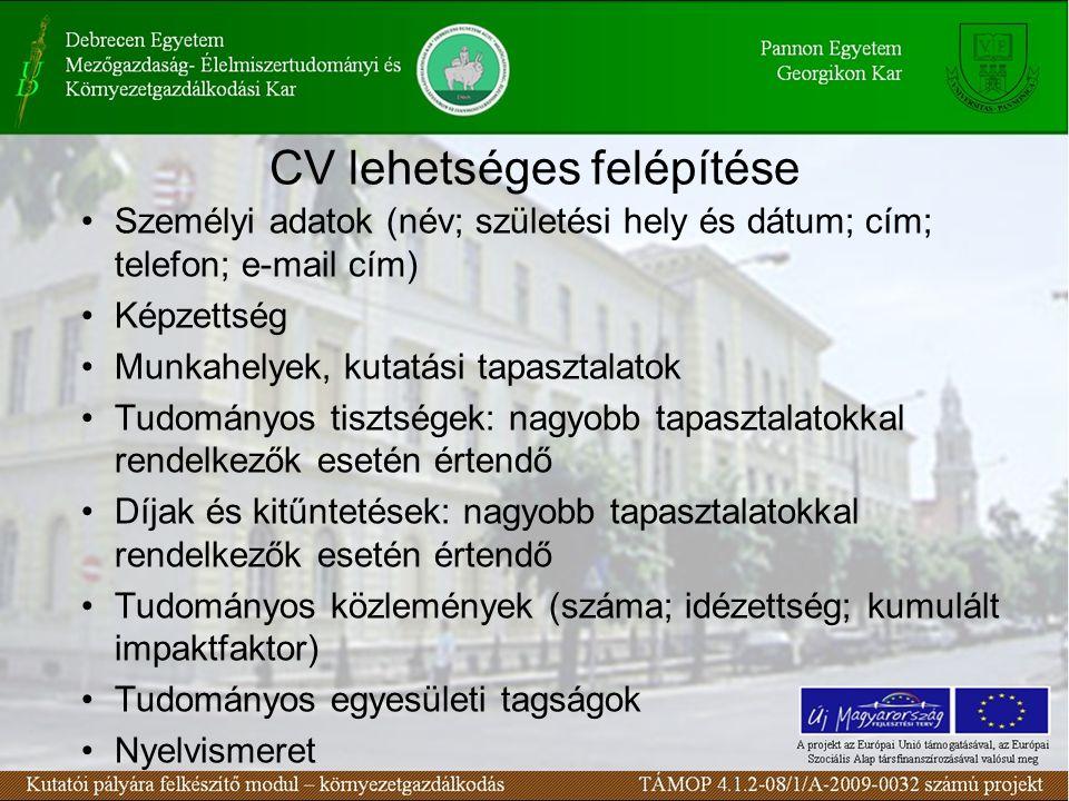 CV lehetséges felépítése