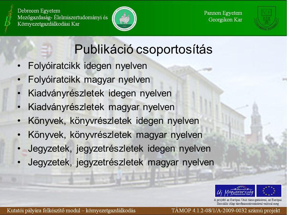 Publikáció csoportosítás