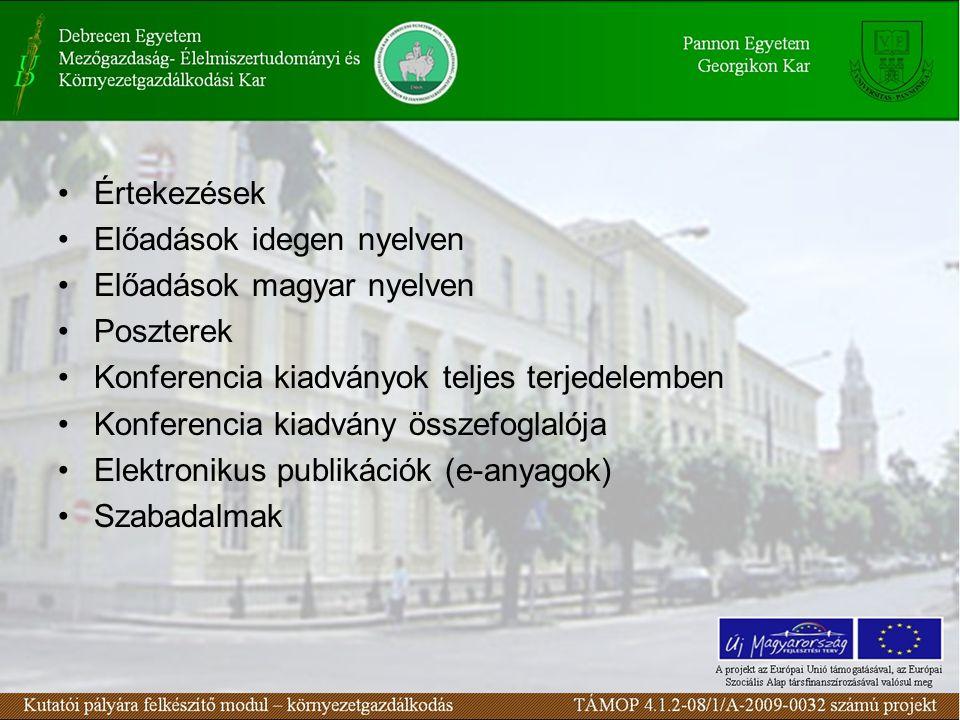 Értekezések Előadások idegen nyelven. Előadások magyar nyelven. Poszterek. Konferencia kiadványok teljes terjedelemben.