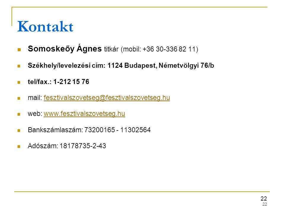 Kontakt Somoskeőy Ágnes titkár (mobil: +36 30-336 82 11)