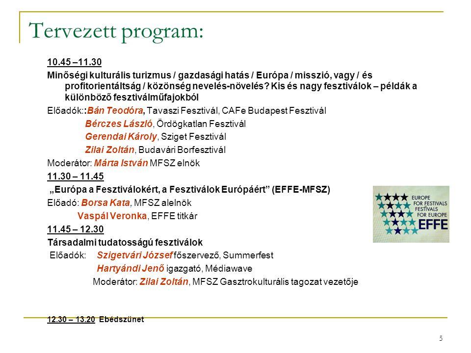 Tervezett program: 10.45 –11.30.