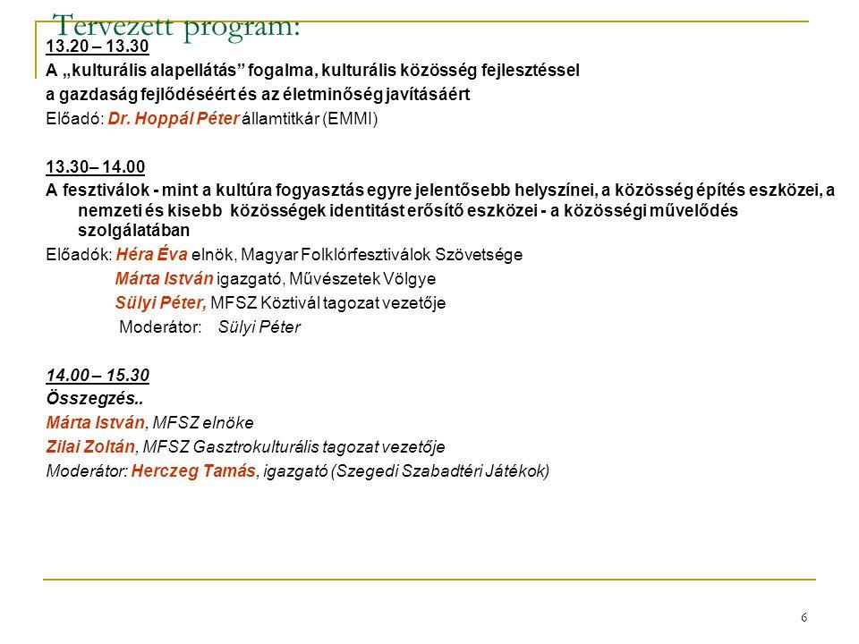 """Tervezett program: 13.20 – 13.30. A """"kulturális alapellátás fogalma, kulturális közösség fejlesztéssel."""