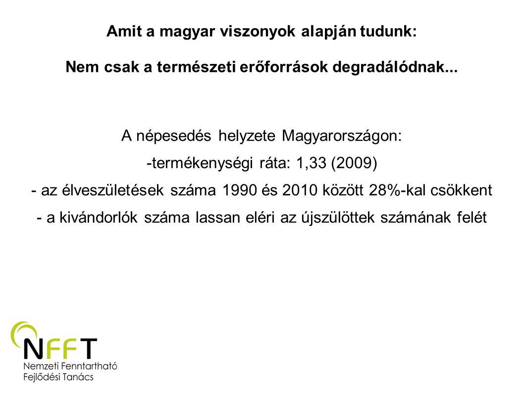 A népesedés helyzete Magyarországon: termékenységi ráta: 1,33 (2009)