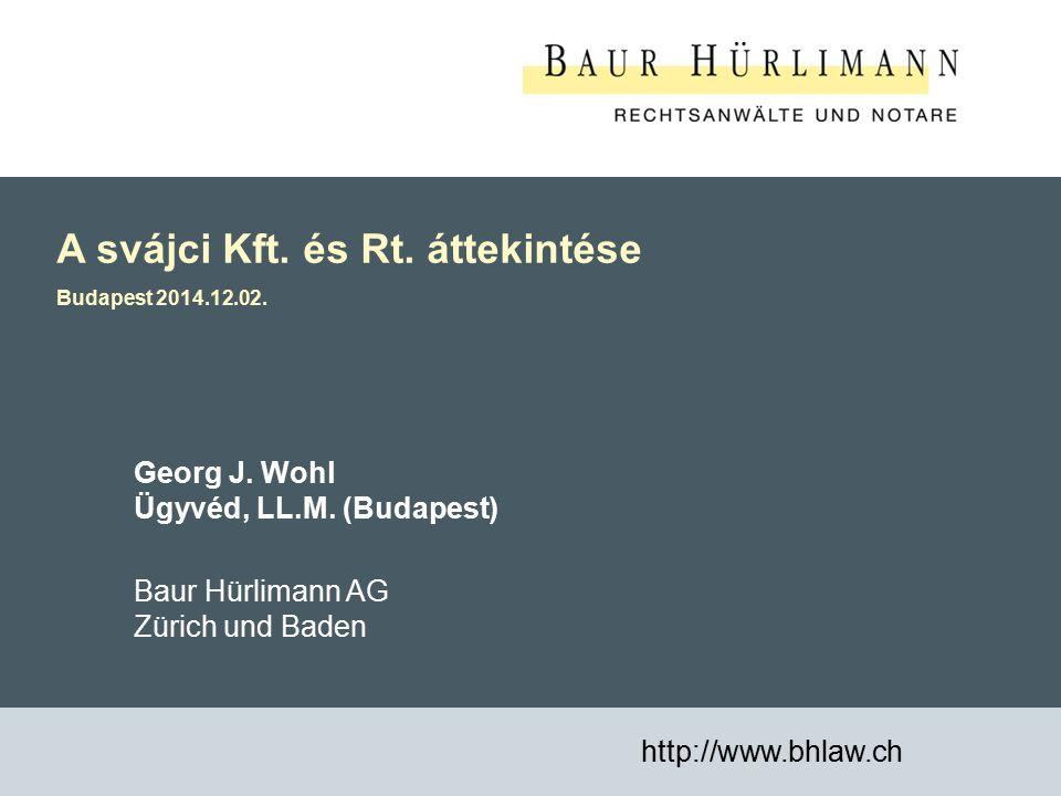 A svájci Kft. és Rt. áttekintése