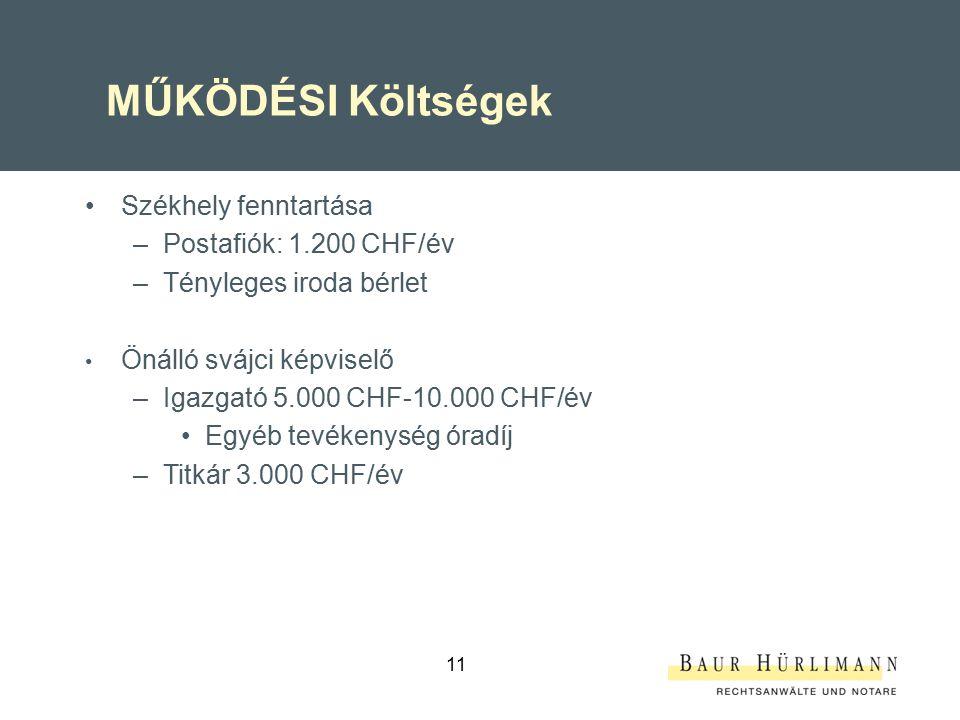 MŰKÖDÉSI Költségek Székhely fenntartása Postafiók: 1.200 CHF/év