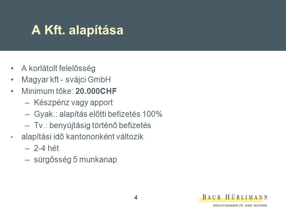 A Kft. alapítása A korlátolt felelősség Magyar kft - svájci GmbH