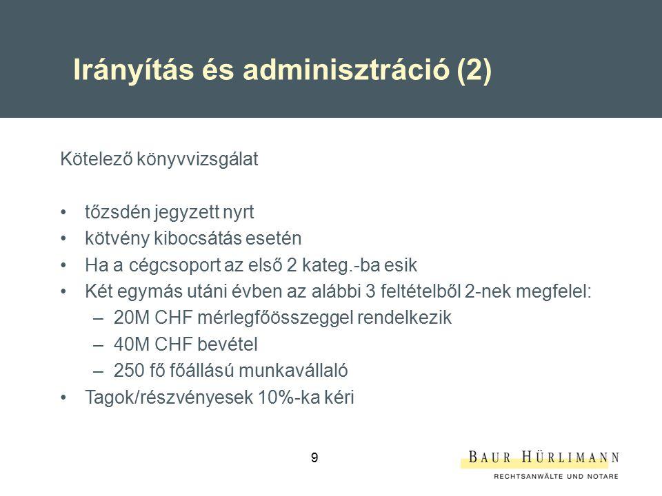 Irányítás és adminisztráció (2)