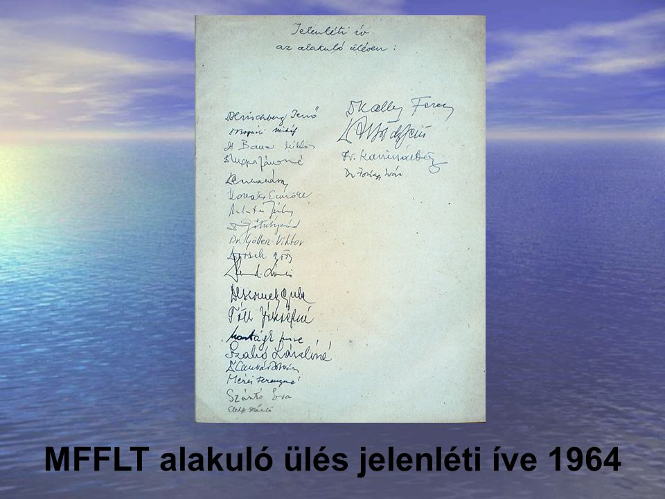 MFFLT alakuló ülés jelenléti íve 1964