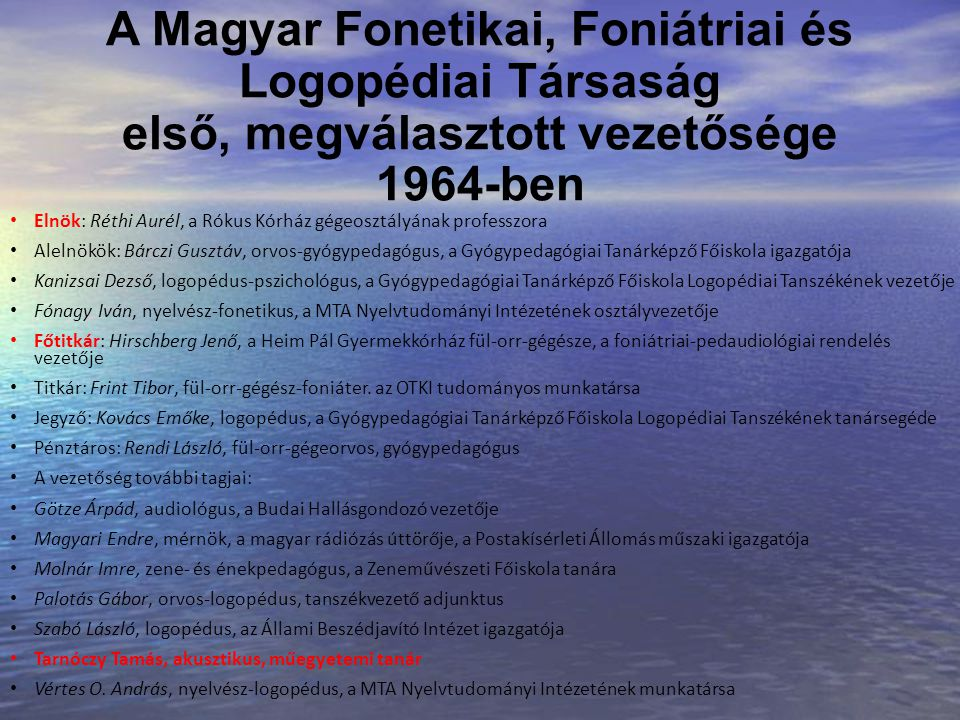 A Magyar Fonetikai, Foniátriai és Logopédiai Társaság első, megválasztott vezetősége 1964-ben