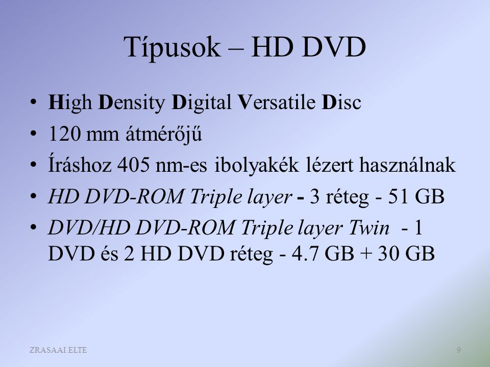 Típusok – HD DVD High Density Digital Versatile Disc 120 mm átmérőjű