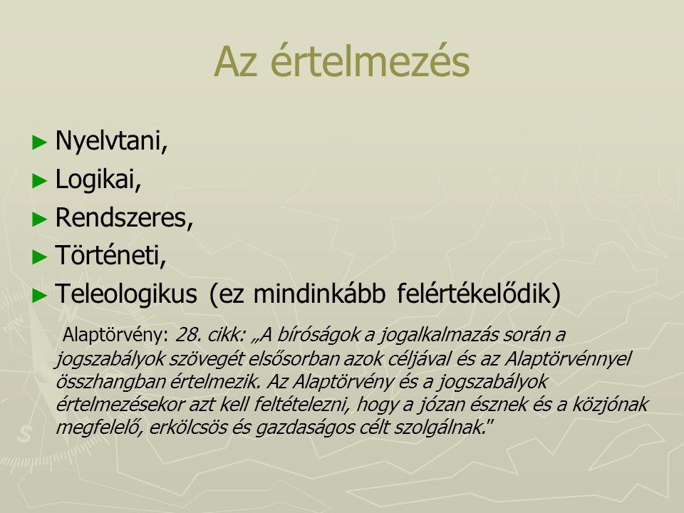 Az értelmezés Nyelvtani, Logikai, Rendszeres, Történeti,