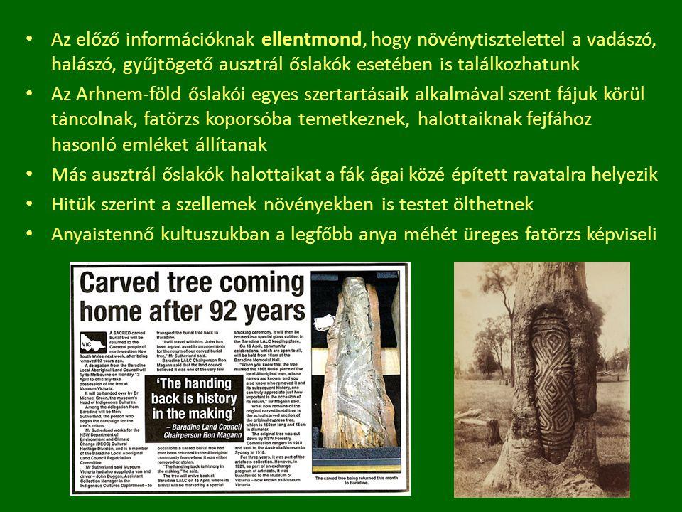 Az előző információknak ellentmond, hogy növénytisztelettel a vadászó, halászó, gyűjtögető ausztrál őslakók esetében is találkozhatunk