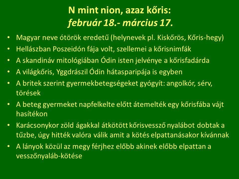 N mint nion, azaz kőris: február 18.- március 17.