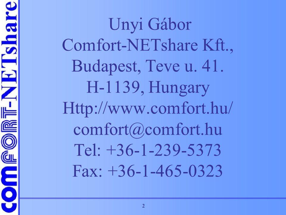 Unyi Gábor Comfort-NETshare Kft. , Budapest, Teve u. 41