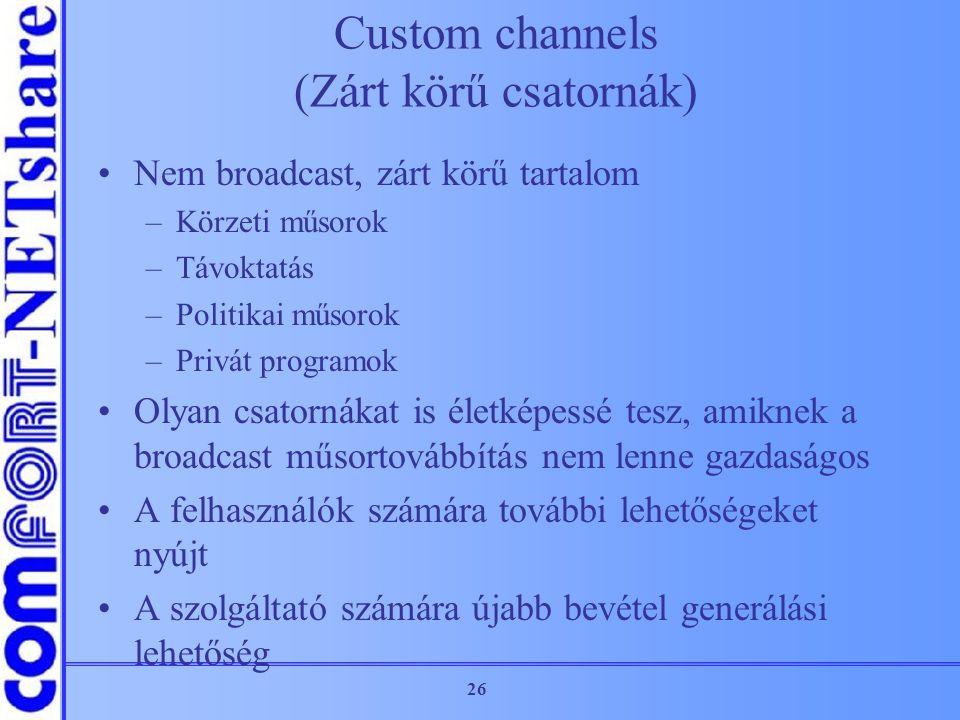 Custom channels (Zárt körű csatornák)