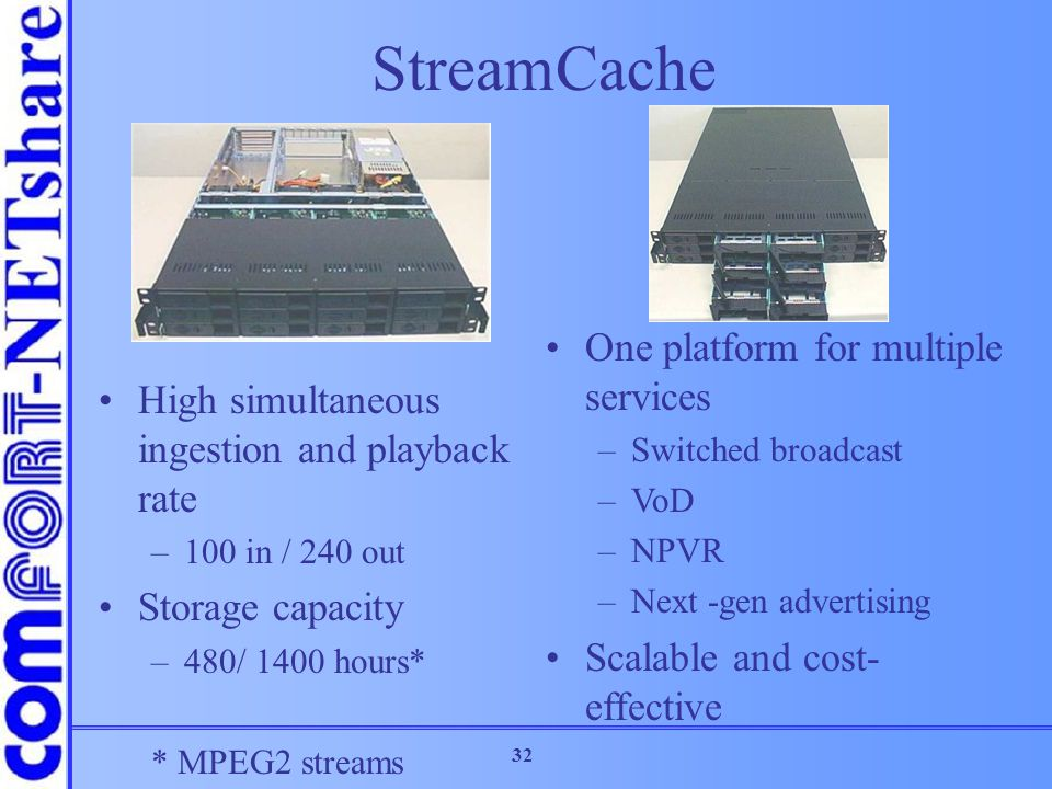 StreamCache One platform for multiple services