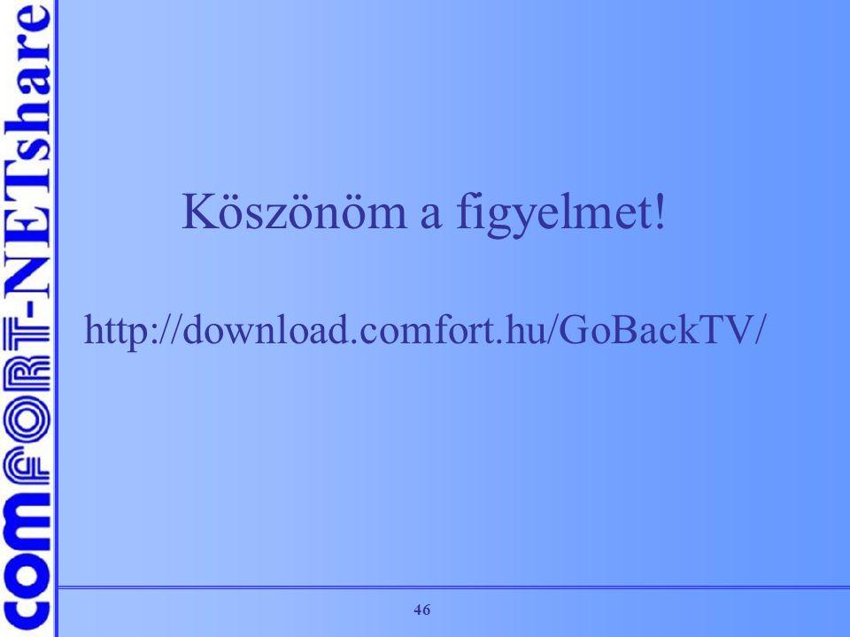 Köszönöm a figyelmet! http://download.comfort.hu/GoBackTV/