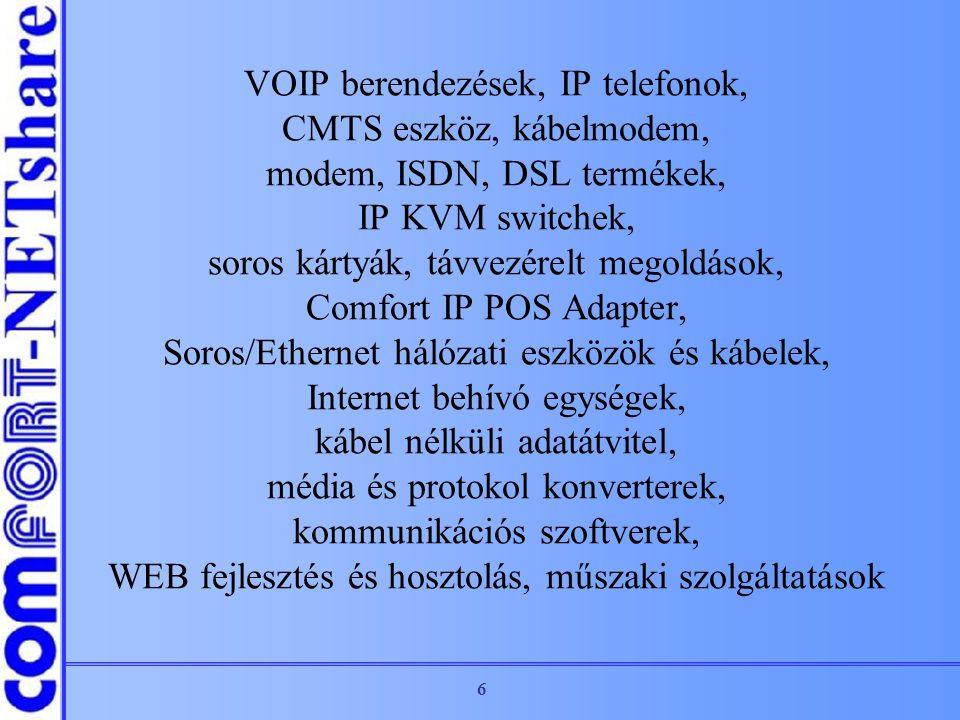 VOIP berendezések, IP telefonok, CMTS eszköz, kábelmodem, modem, ISDN, DSL termékek, IP KVM switchek, soros kártyák, távvezérelt megoldások, Comfort IP POS Adapter, Soros/Ethernet hálózati eszközök és kábelek, Internet behívó egységek, kábel nélküli adatátvitel, média és protokol konverterek, kommunikációs szoftverek, WEB fejlesztés és hosztolás, műszaki szolgáltatások