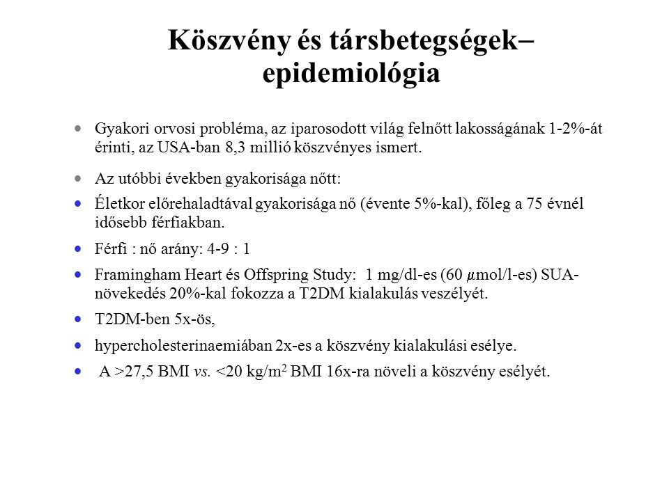 Köszvény és társbetegségek epidemiológia