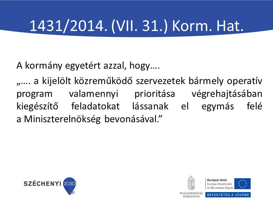 1431/2014. (VII. 31.) Korm. Hat. A kormány egyetért azzal, hogy….