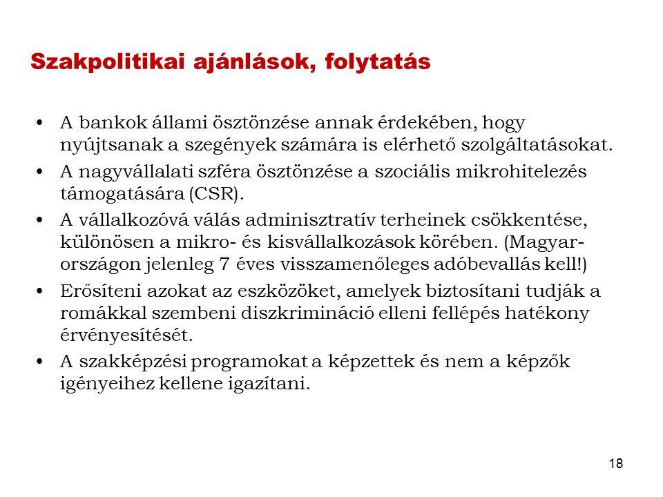 Szakpolitikai ajánlások, folytatás