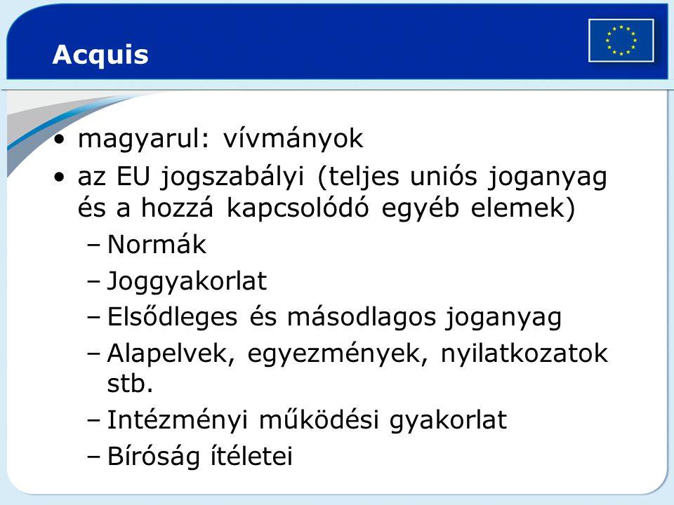 Acquis magyarul: vívmányok