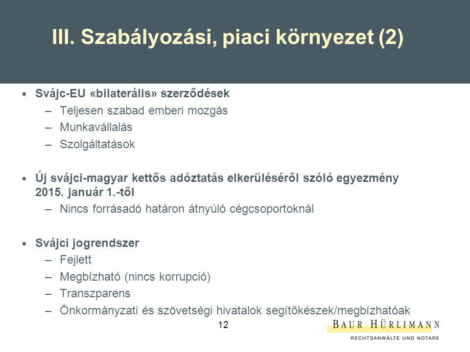 III. Szabályozási, piaci környezet (2)