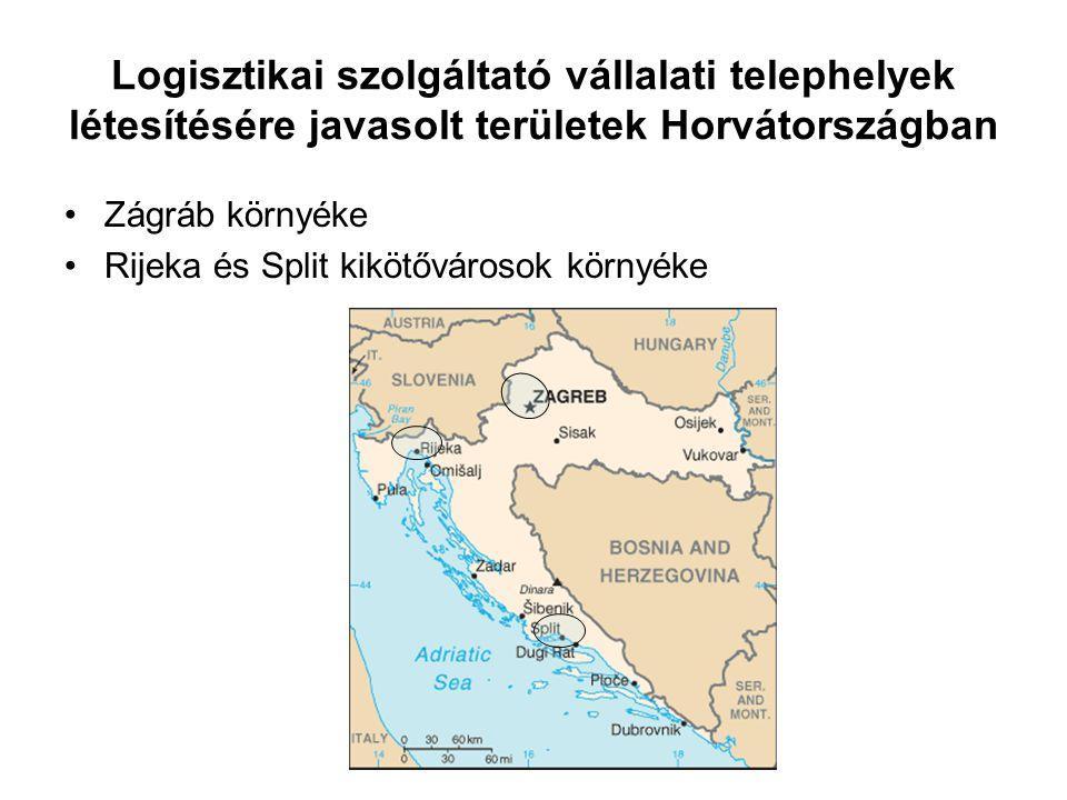 Logisztikai szolgáltató vállalati telephelyek létesítésére javasolt területek Horvátországban