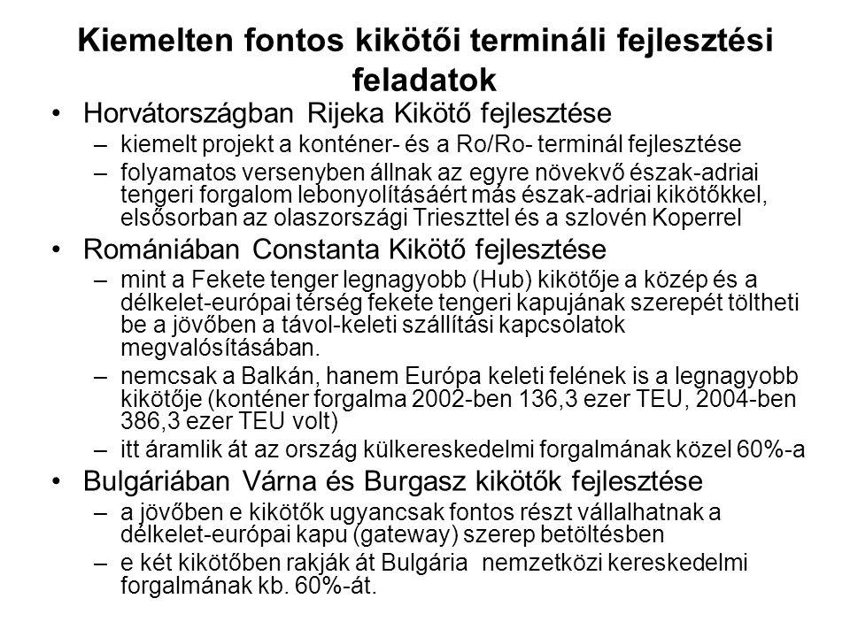 Kiemelten fontos kikötői termináli fejlesztési feladatok