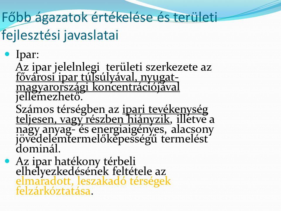 Főbb ágazatok értékelése és területi fejlesztési javaslatai