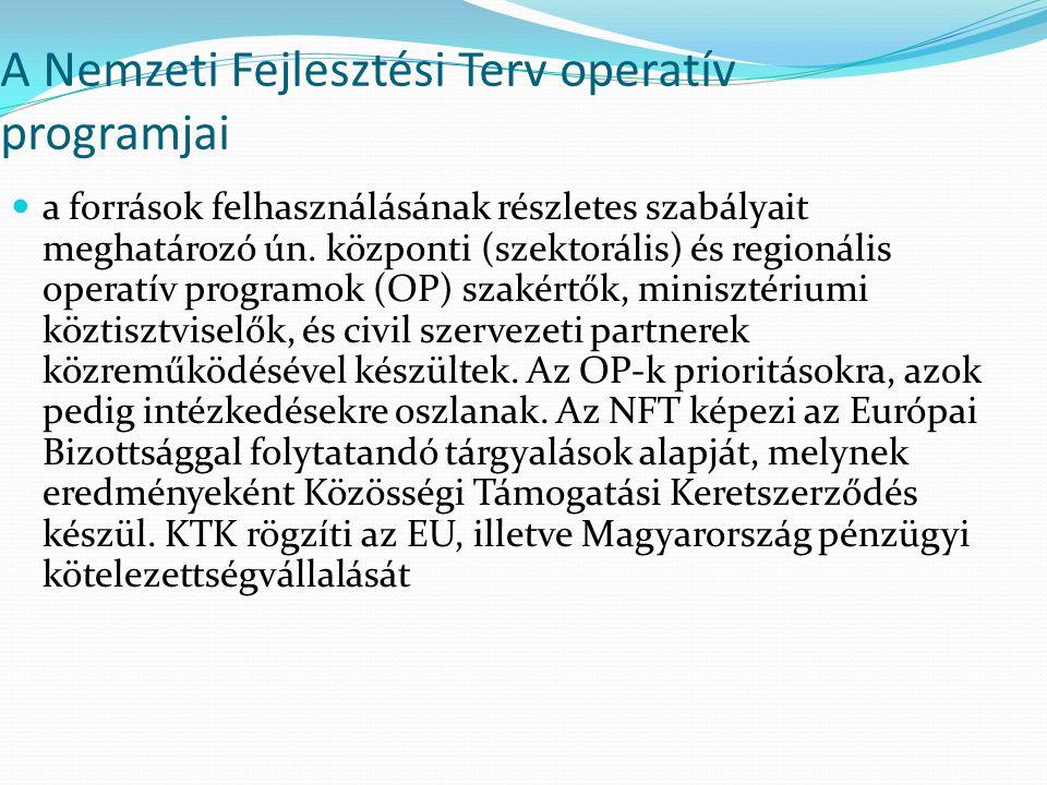 A Nemzeti Fejlesztési Terv operatív programjai