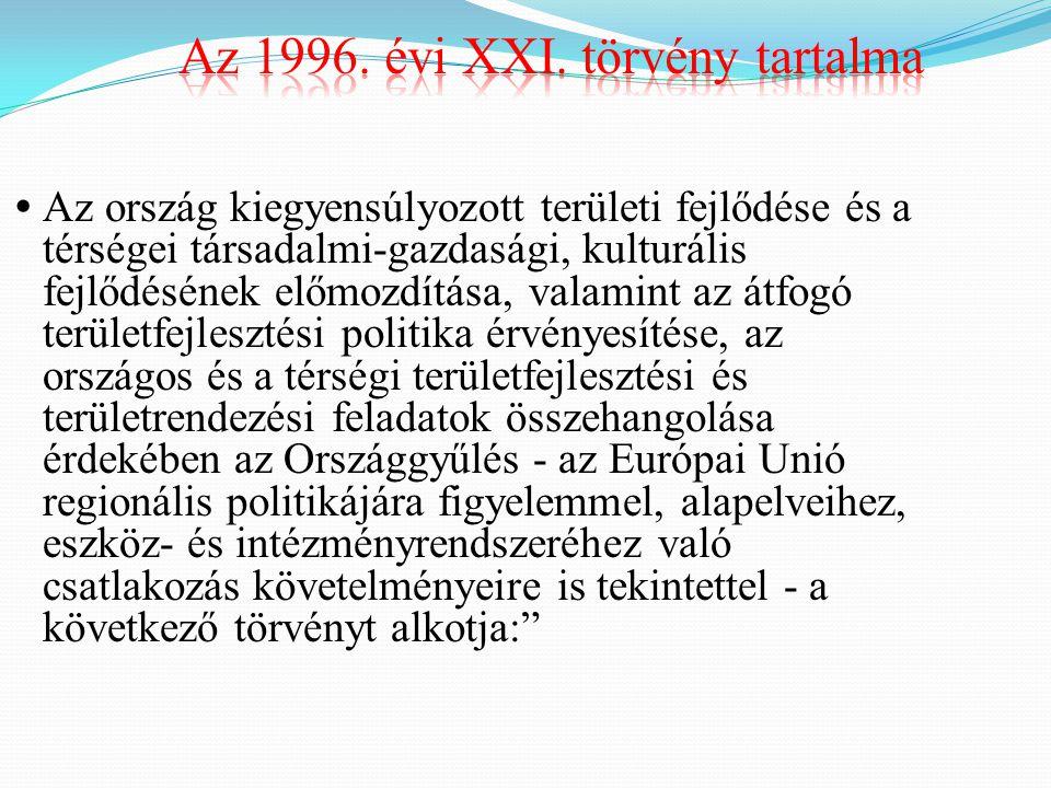Az 1996. évi XXI. törvény tartalma