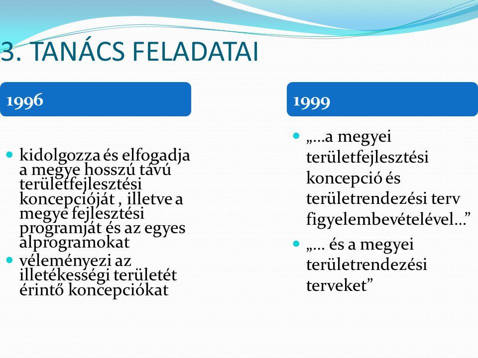 """3. TANÁCS FELADATAI 1996. 1999. """"…a megyei területfejlesztési koncepció és területrendezési terv figyelembevételével…"""
