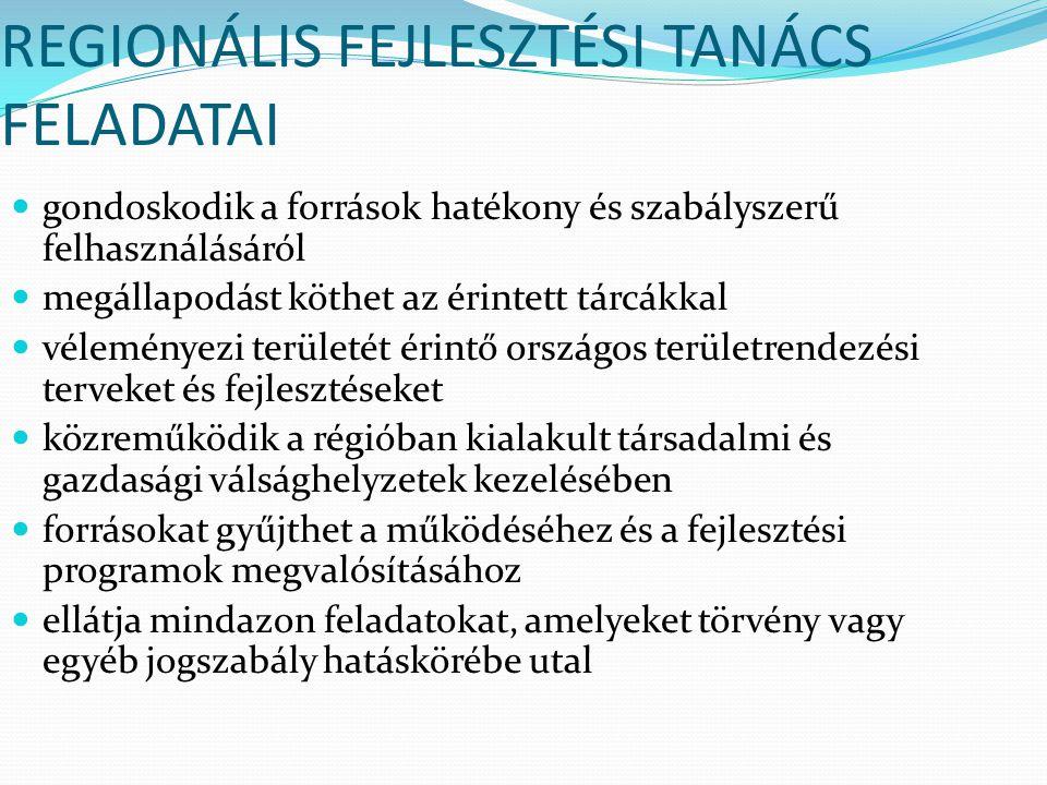 REGIONÁLIS FEJLESZTÉSI TANÁCS FELADATAI