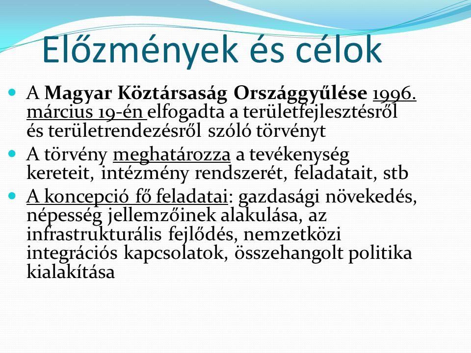 Előzmények és célok A Magyar Köztársaság Országgyűlése 1996. március 19-én elfogadta a területfejlesztésről és területrendezésről szóló törvényt.
