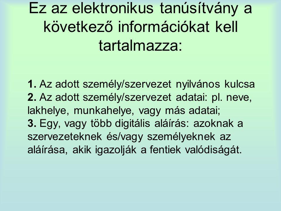 Ez az elektronikus tanúsítvány a következő információkat kell tartalmazza: