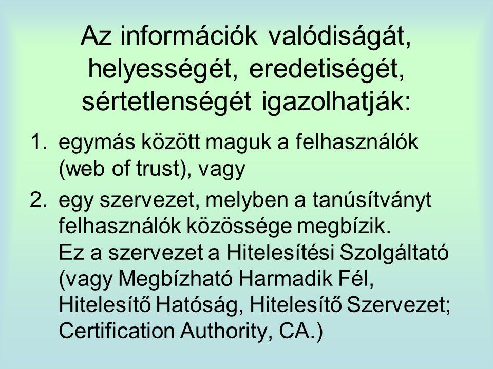 Az információk valódiságát, helyességét, eredetiségét, sértetlenségét igazolhatják: